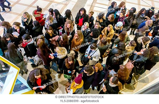 Paris, France, Shopping, French Shopping Mall, Les Halles, The Forum, Crowd of Female Teenagers on Line