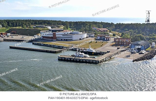 07 July 2018, Lithuania, Klaipeda: The former fort, today the Maritime Museum, on the Curonian Spit, recorded by My Ship 1 of Tui-Cruises during the exit from...