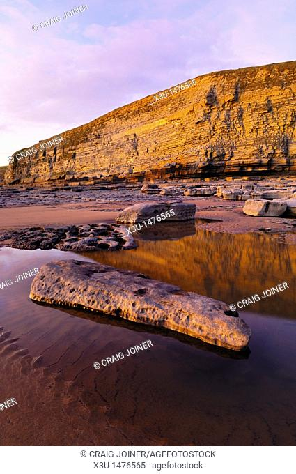 Dunraven Bay at dusk near Southerndown on the Glamorgan Heritage Coast, Wales