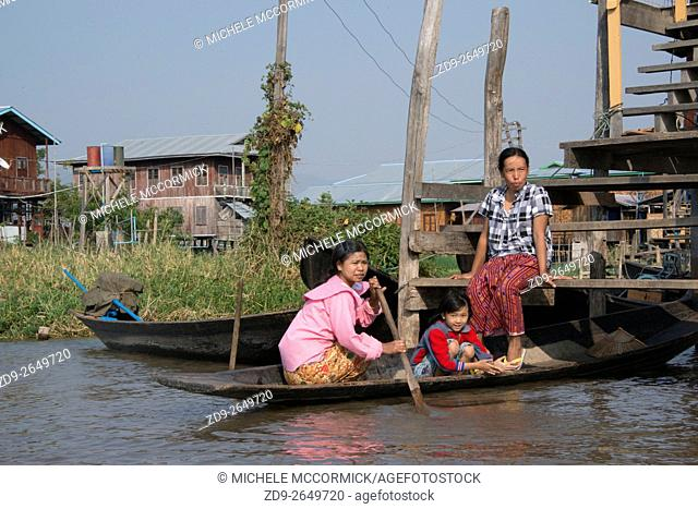 Homes on stilts in the water at Inle Lake