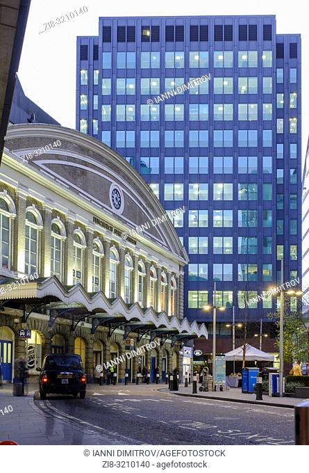 Main Entrance of Fenchurch Street Station on Fenchurch Place in the Financial District, City of London, England
