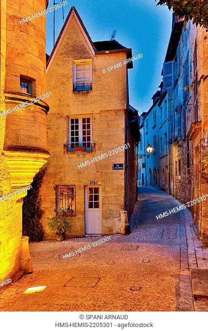 France, Dordogne, Dordogne Valley, Black Perigord, Sarlat la Caneda, night view of a cityscape representing the historic city center of Sarlat