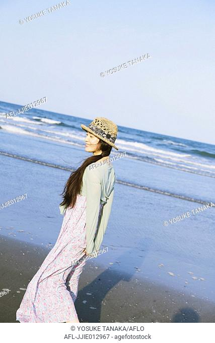 Japanese woman at the beach