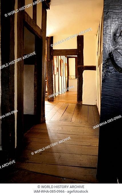 Timber framed hallway at Blakesley Hall, a Tudor residence, on Blakesley Road, Yardley, Birmingham, England. It dates to 1590