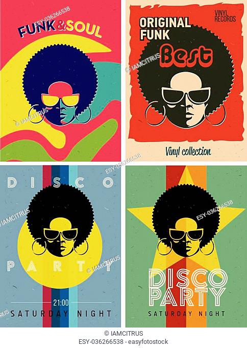Disco party event flyers set. Collection of the creative vintage posters. Vector retro style template. Black woman in sunglasses