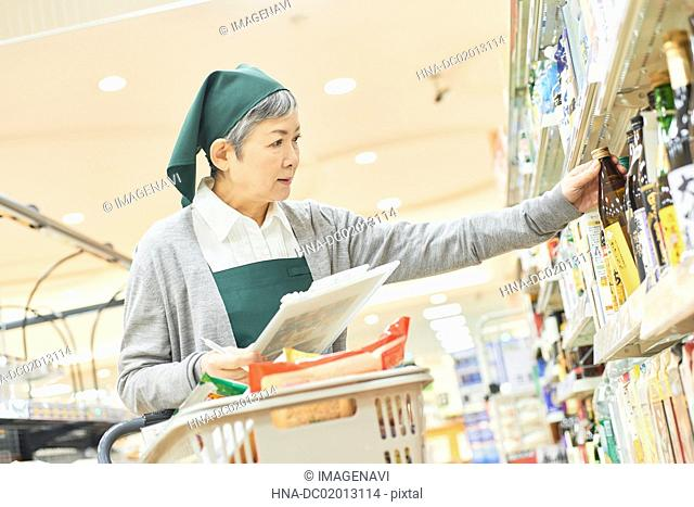 Senior woman worker shopping for proxy