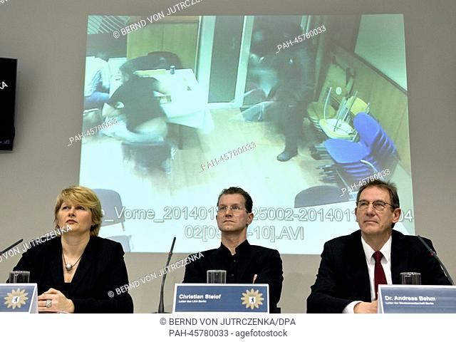 Heike Rudat (L-R), chief investigator of the Office of Criminal Investigation (LKA), Christian Steiof, head of the LKA Berlin and Andreas Behm