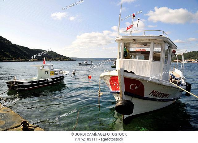 Anadolu Kavagi quay, small fishing and tourist village in the Bosphorus Strait near the Black Sea. Turkey