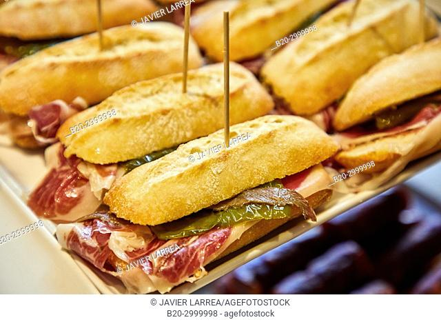 Sandwich with ham, anchovy and green pepper, Pintxos, Bar Restaurante Portaletas, Parte Vieja, Old Town, Donostia, San Sebastian, Gipuzkoa, Basque Country