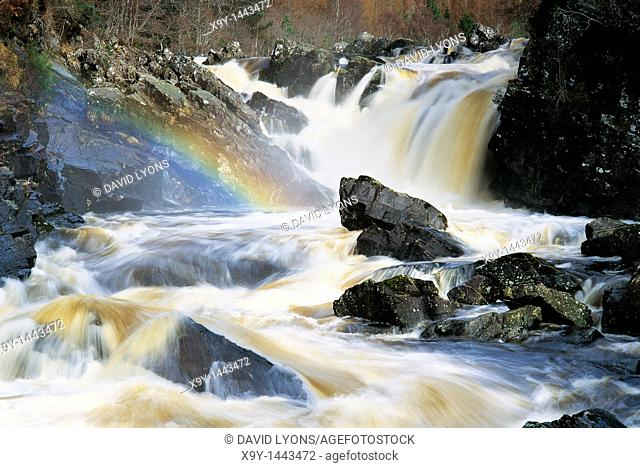 The Falls of Rogie waterfall on the River Blackwater in Ross and Cromarty, Highland Region of Scotland, UK