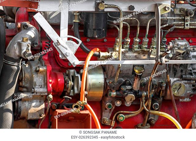 Close up Diesel engine part of power plant