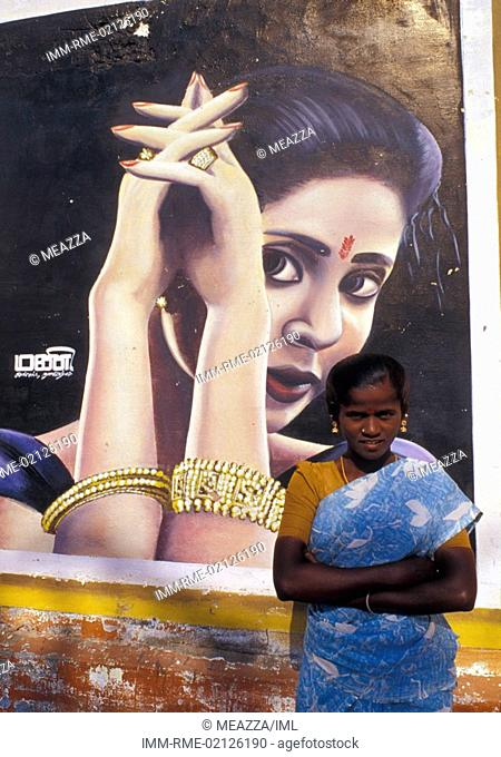 Tutucorin, One typical cinematographic poster, woman standing Tamil Nadu, India, Asia