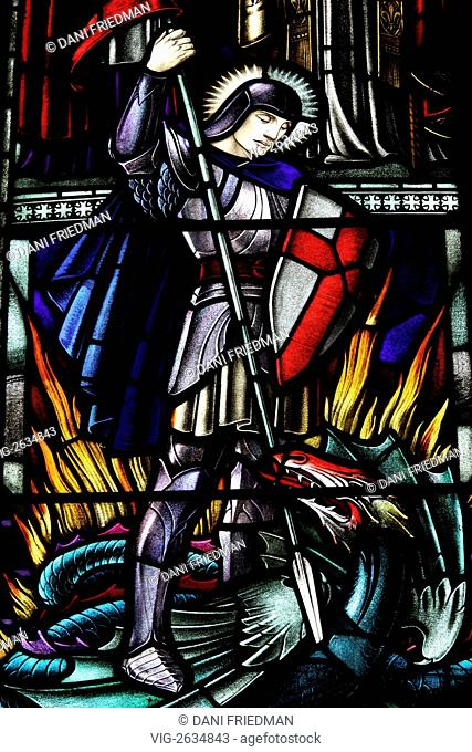 CANADA, TORONTO, 28.05.2011, A stained-glass window in the St. James Cathedral depicting Saint George slaying the dragon