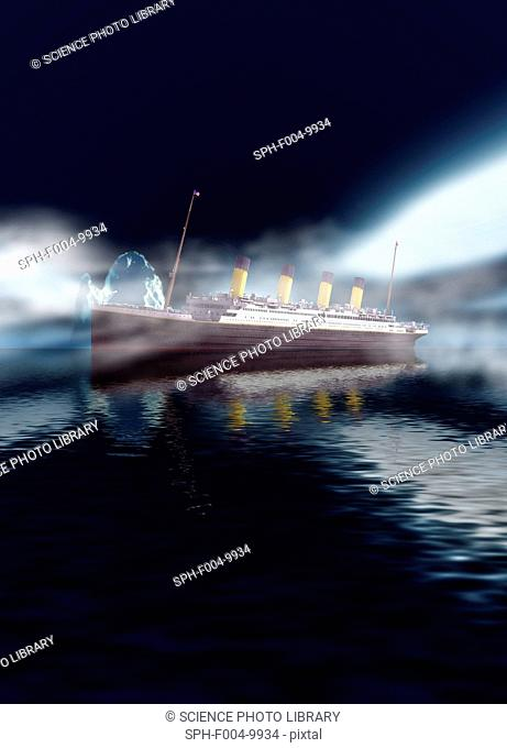 Titanic. Computer artwork of RMS Titanic at sea with an iceberg in the background. The Titanic was the largest ocean liner ever built at the time