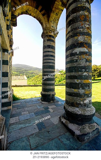 pilars of the beautiful Romanesque church in white and green built 1280 of Murato in Nebbio district on Corse, France