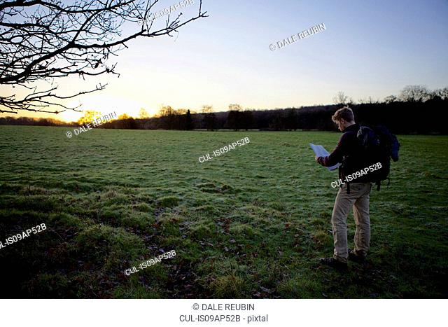 Male hiker reading map in field at sunset