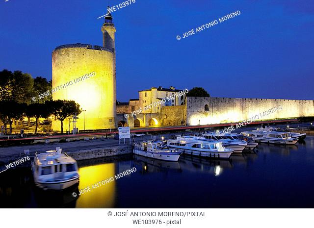 Constance Tower at dusk, Aigues-Mortes. Petite Camargue, Gard, Languedoc-Roussillon, France