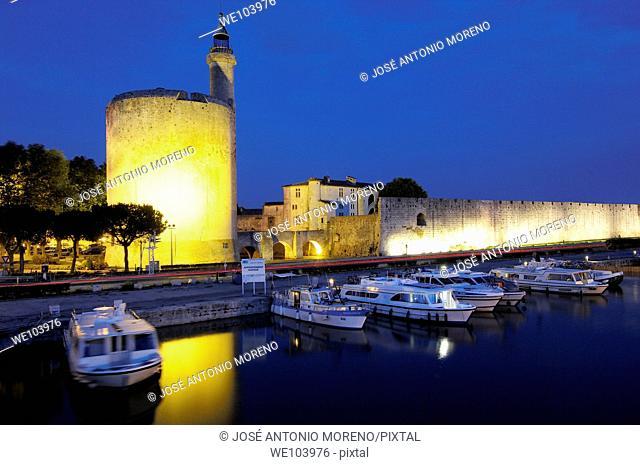 Constance Tower at dusk, Aigues-Mortes. Petite Camargue, Gard, Languedoc-Roussillon, France