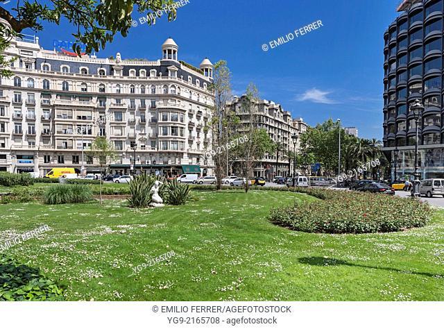 Plaça Francesc Macia square in Barcelona. Spain
