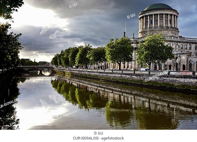 Liffey river and the Four Courts, Dublin, Republic of Ireland