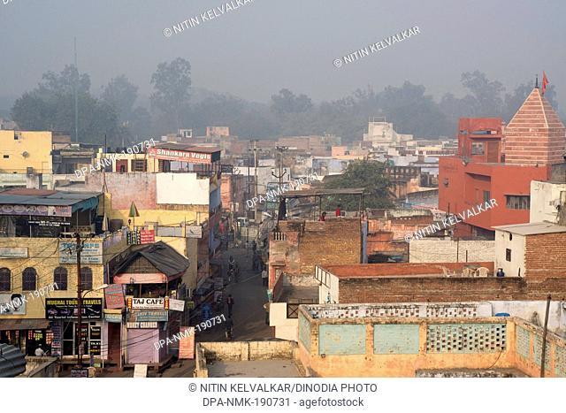 Aerial view of houses road temple Agra Uttar Pradesh India Asia
