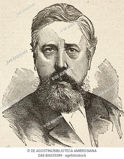 Portrait of Wilhelm Liebknecht (1826-1900) German politician, illustration from Il Secolo Illustrato della Domenica, Year II, No 58, November 9, 1890