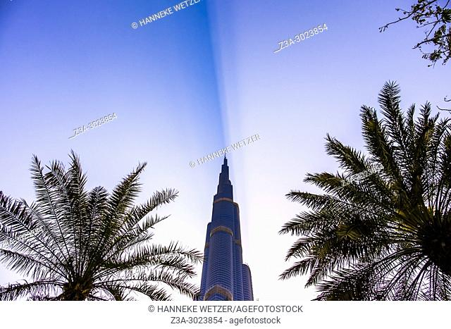 The Burj Khalifa in Dubai, highest building of the world, dividing the sky in two