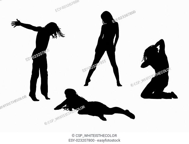 people in motion silhouettes set 4