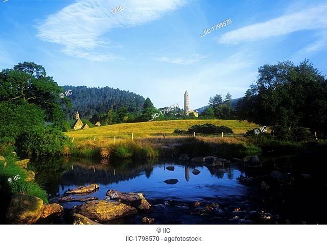 Round Tower In The Forest, Glendalough, Wicklow Mountains, Republic Of Ireland