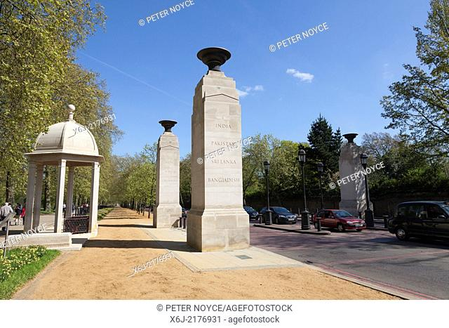 Memorial Gates at the end of Constitution Hill commemorate the Armed Forces of the British Empire from Africa, the Caribbean and the Indian subcontinent