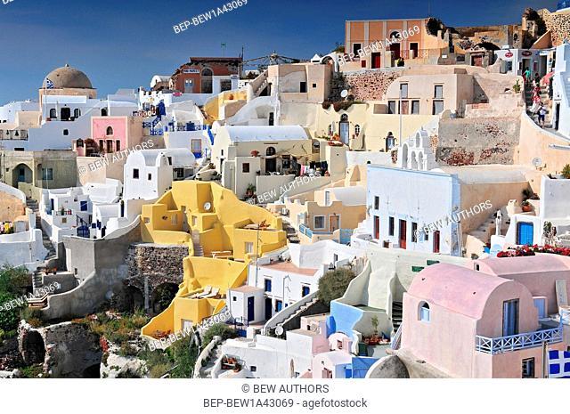 Viewing point of Santorini Caldera - Oia white houses. Oia, Santorini Island, Greece
