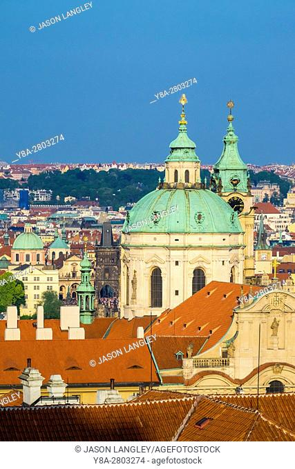Czech Republic, Prague. Rooftops of buildings in Mala Strana from Prague Castle