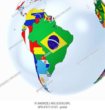 National flags on globe, illustration