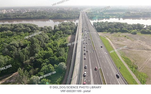 Aerial footage of cars driving on the highway, Warsaw, Poland
