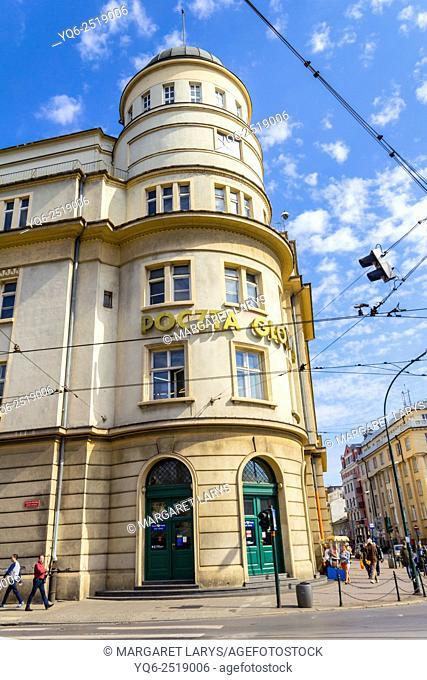 Polish Main Post Office building in Krakow, Poland, Europe