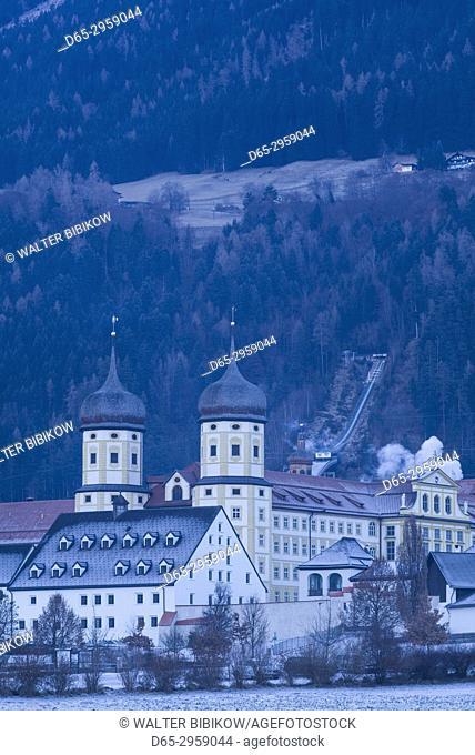 Austria, Tyrol, Stams, Stams Abbey, exterior, winter