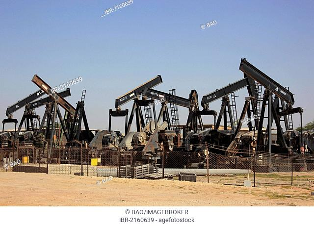 Depot with worn-out oil pumps near Marmul, Oman, Arabian Peninsula, Middle East, Asia