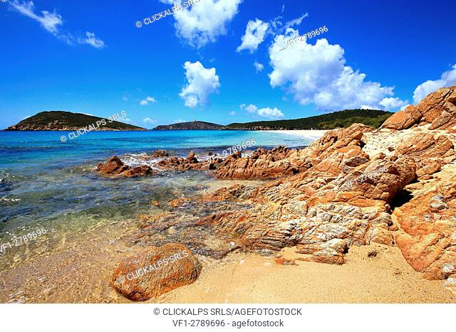 Colors of Turredda beach with rocks in foreground, Sardinia, Italy