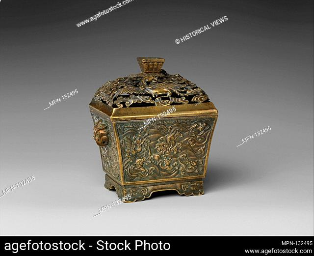 Incense Burner with Dragon, Phoenix, and Sea Creatures. Period: Ming dynasty (1368-1644); Date: 16th-17th century; Culture: China; Medium: Brass; Dimensions: H