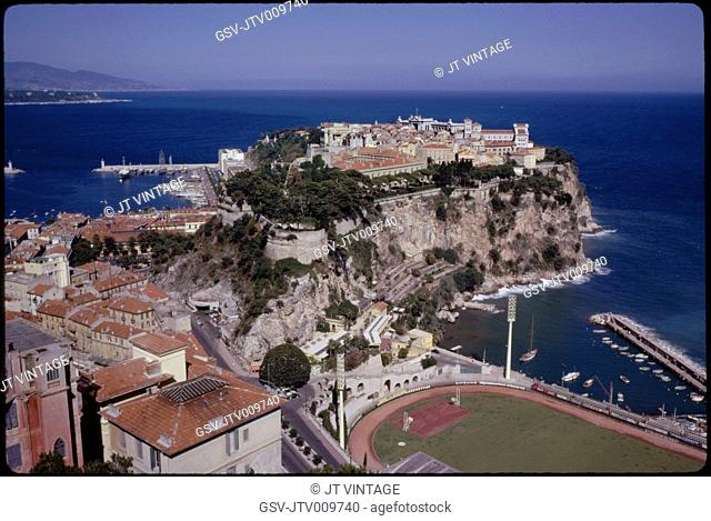 Prince's Palace and Mediterranean Sea, Monaco-Ville, Monaco, 1961