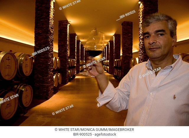 Oenologist, Luis Duarte, winery and country hotel Herdade dos Grous, Crane Manor, Alentejo Region, Portugal, Europe