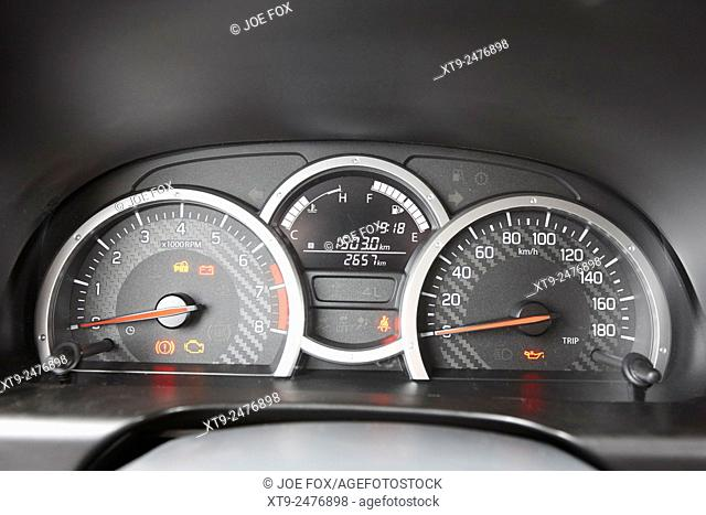 electronic dashboard and dials on a european metric measurement vehicle