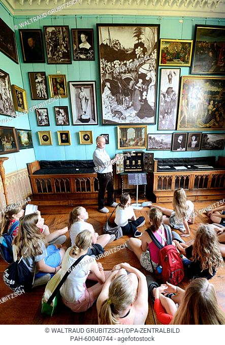 Stundents look at works of art of German renaissance painters Lucas Cranach the older (1472-1553) and his son Lucas Cranach the younger (1515-1586) at the...