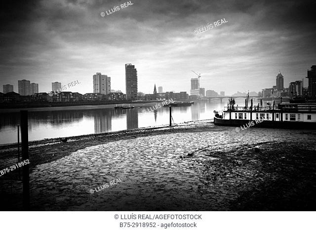 City view. Chelsea Harbour, River Thames, Sands End, London, UK
