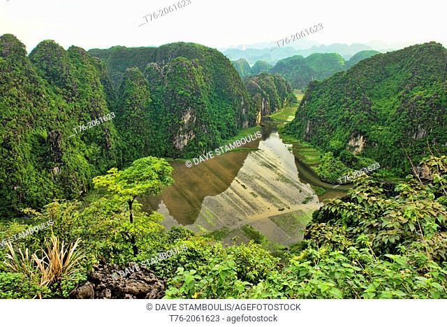 beautiful limestone karst mountains in Ninh Binh, Vietnam