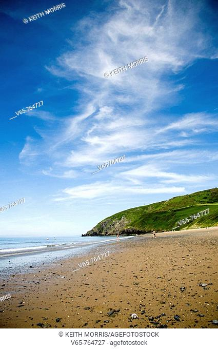 summer afternoon, Penbryn Beach - a National Trust property - on the Cardigan Bay coast, Wales UK