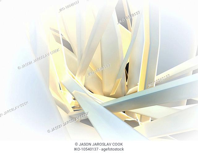 Abstract structure of tangled bent white girders
