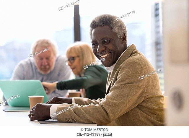 Portrait smiling, confident senior businessman