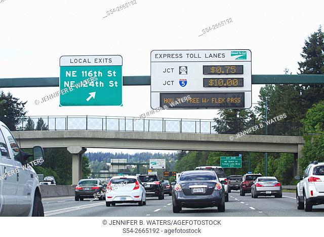 Traffic on Interstate 405 in Bellevue, Washington, USA