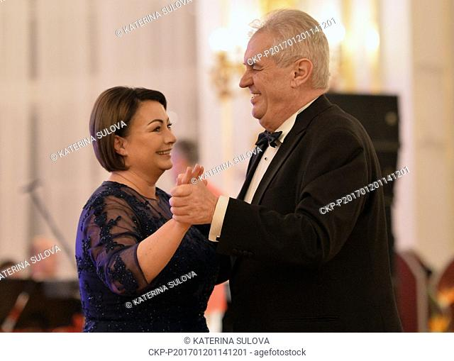 The Czech presidential couple, Ivana and Milos Zeman, hosts a charity ball at Prague Castle on Friday, January 20, 2017. Like a year ago
